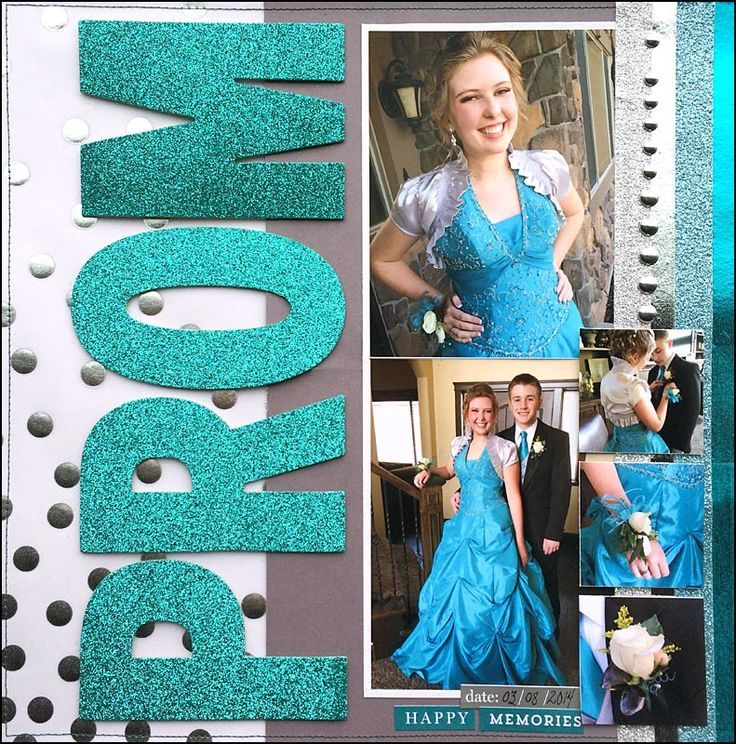 single page layout, prom theme page scrapbook layout, 5 photos