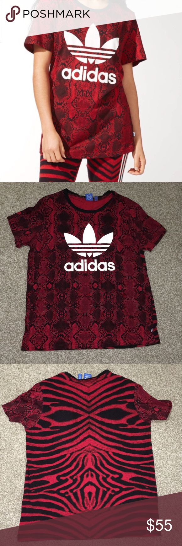 Adidas Red Clash Animal Print 2pc Set for Women Good Condition  Includes Shirt & Leggings / Both are a size Large adidas Tops Tees - Short Sleeve