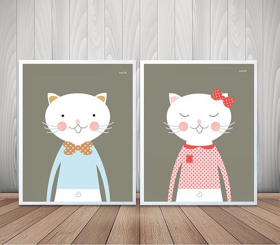 laminas infantiles, animales infantiles, gatos, laminas gatos, cuadros infantiles, cuadros, habitacion bebe, bebe, niños, laminas a4