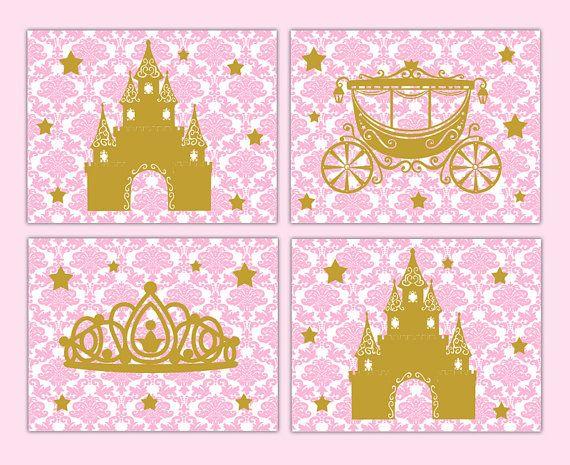 PINK GOLD NURSERY Border Princess Damask Wall Art by decampstudios