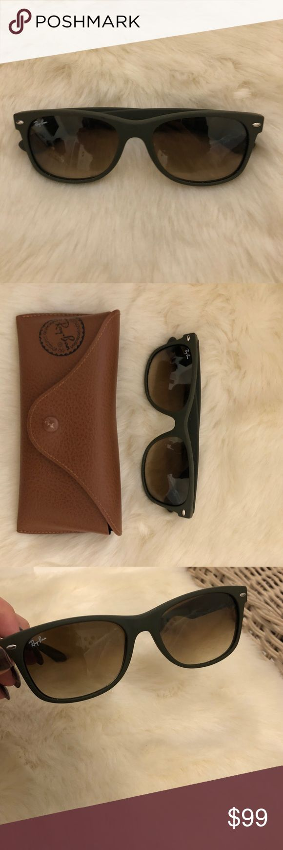Green Wayfarer Ray-Ban Forest green Wayfarer style Ray Bans. Excellent condition, barely used. Rims are a matte finish and lenses are a brown mirror (darker on top lighter on bottom). Size is best for smaller & medium size faces (women). Unique & hard to find elsewhere. Make an offer! Ray-Ban Accessories Sunglasses