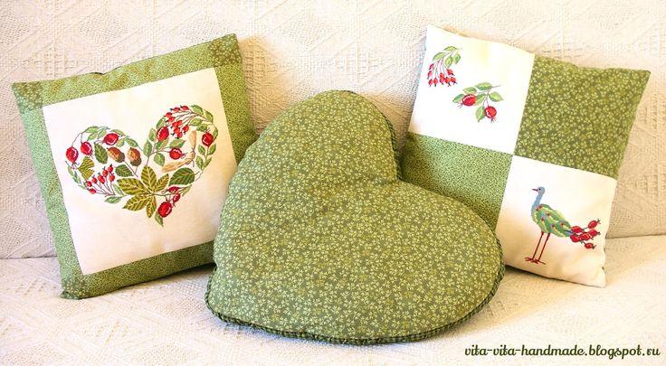 Märchenhaftes Sticken: Осенние подушки с шиповником и боярышником