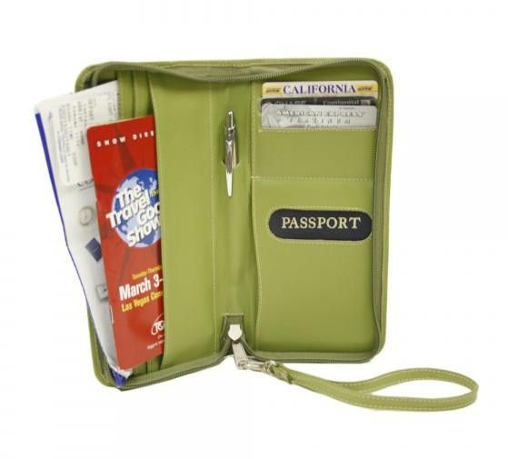 The Zippered Passport/Ticket Holder is a zip around travel organizer with several flap pockets inside to hold tickets and other important documents. Large double open pocket for passport, three open card pockets, center pen holder, and back slit pocket for tickets, etc.