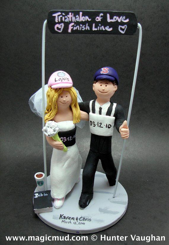 Triathalon Wedding Cake Topper Marathon Runners Wedding Cake Topper Custom Created For You