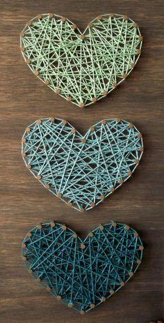 Petrol & Minze Mini Herzen String Art Schild Herz von LoveArtSoul11