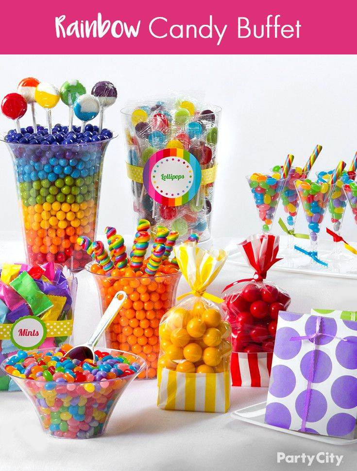 Can't decide on a color for your candy buffet? With Party City you don't have to! Create a visual feast of chocolate drops, candy sticks, gumballs and more! Show off with one color or go full-on rainbow with over ten different styles of clear display vases, bowls and multi-color candy boxes.