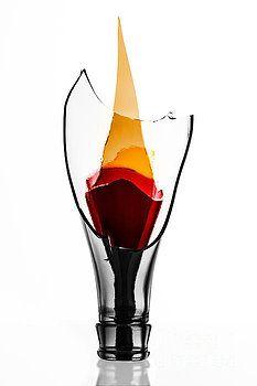 still life, glass, flame, fire, broken glass, bottle, beer, torch, studio, isolated, red, orange, minimalist, sharp, broken, light, civilization, macro, photo, photography, design, products, wall decor, decoration