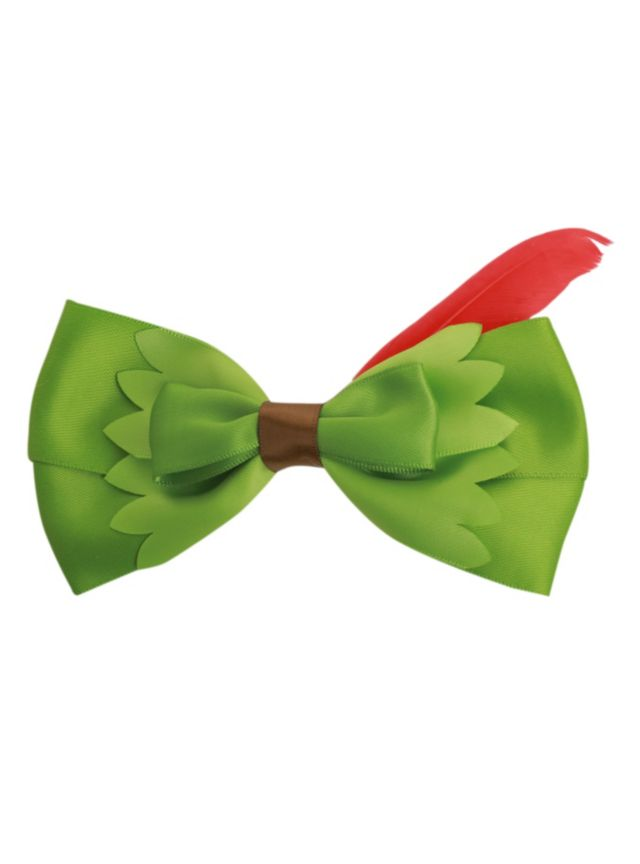 Green Hair bow inspired by Disney's Peter Pan with a red feather accent.