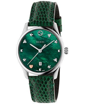 fbaa09bcbec Gucci Women s Swiss G-Timeless Green Leather Strap Watch 29mm