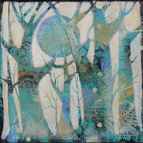 Original art painting of trees artworksmall by SueDavisStudio