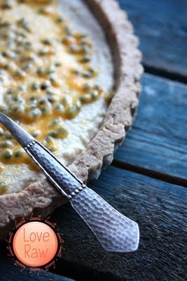 Vegan, raw & nut free Buckwheat~Pineapple pie with Passion fruit. #raw #food, #vegan, #baking, #veganbaking, #pie, #pineapple, #passion, #passion_fruit, #cake, #dessert, #healthy, #gluten_free, #photo, #photography, #vegetarian, #blue, #spoon, #silver, #beautiful, #amazing, #sweet