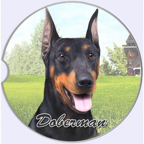 Doberman Pinscher Sandstone Absorbent Dog Breed Car Coaster