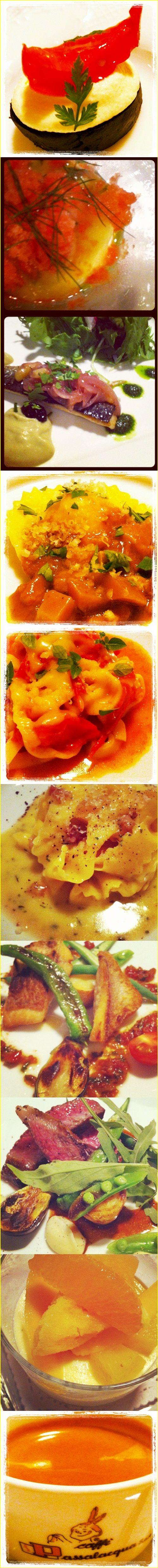 """シェフのおまかせコース  ・イカ墨のクロスティーニ、トマトのコンフィとクリーミーなリコッタチーズのせ    ◆Antipasto freddo 冷たい前菜◆    ・じゃがいものパンナコッタ、グレープフルーツのジュレと赤海老のタルタル添え 、完熟トマトのグラニテのアクセント    ◆Antipasto caldo 温かい前菜◆    ・真鰯の温製スカペーチェ、こだわり茄子のピュレ添え サラダ仕立て    ◆Primo piatto 1皿目のひとくちパスタ◆    ・ヴェネト産白ポレンタを詰めたラビオリ、サマーポルチーニのラグーソース    ・ バヴェッティーニ (やや平たいロングパスタ)    シシリアンルージュトマトとジェノヴァペーストのソース    ・パッパルデッレ (卵黄を練りこんだ幅広平打ちのロングパスタ)    グアンチャーレとローズマリーの香り """" カチョ エ ペペ """"  ・本日の鮮魚の鉄板焼 ドライトマトとアンチョビの潮オイルソース  ・本日のお肉料理  ◆dolce デザート◆  ・バニラのムースとパイナップルのコンポート、マンゴーとオレンジのソルベ添え"""