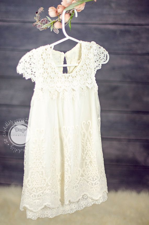 New Spring Collection Angellina Natural Cream Cotton Lace Girl Vintage Style Dress Flower Girl Dress Photo Prop Birthday Dress Made to Order on Etsy, $36.00