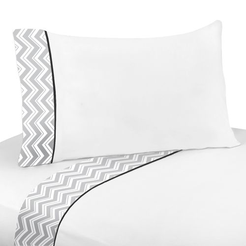 Buy Black and Gray Chevron Zig Zag twin or queen bed sheets from Sweet Jojo Designs and add a trendy touch to your bathroom. BabysOwnRoom.com: Free Shipping, Great Service!