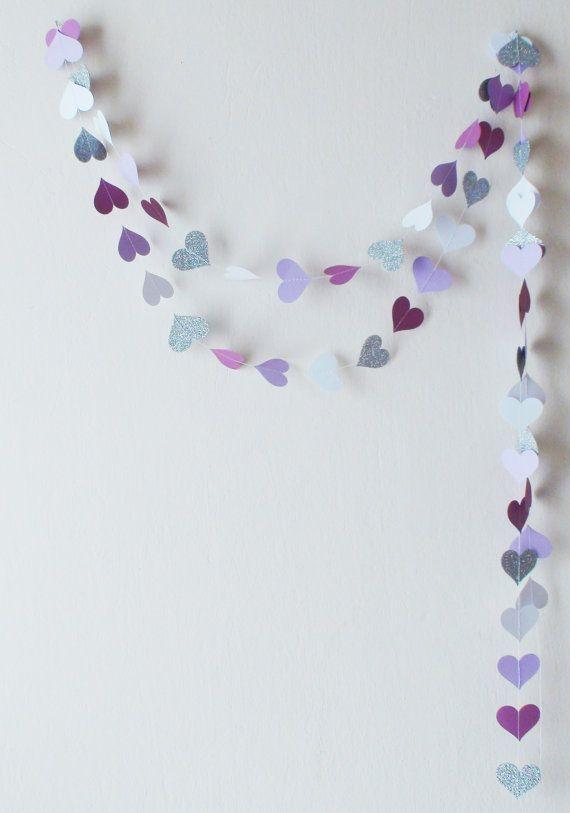 PurpleLilacWhite Silver glitter heart paper by HelenKurtidu
