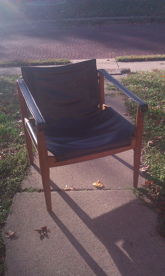 RESERVED Brown Saltman Mid Century Sling Chair   In The Manner Of Maurice  Burke For Arkana   Modern Lounge Chair