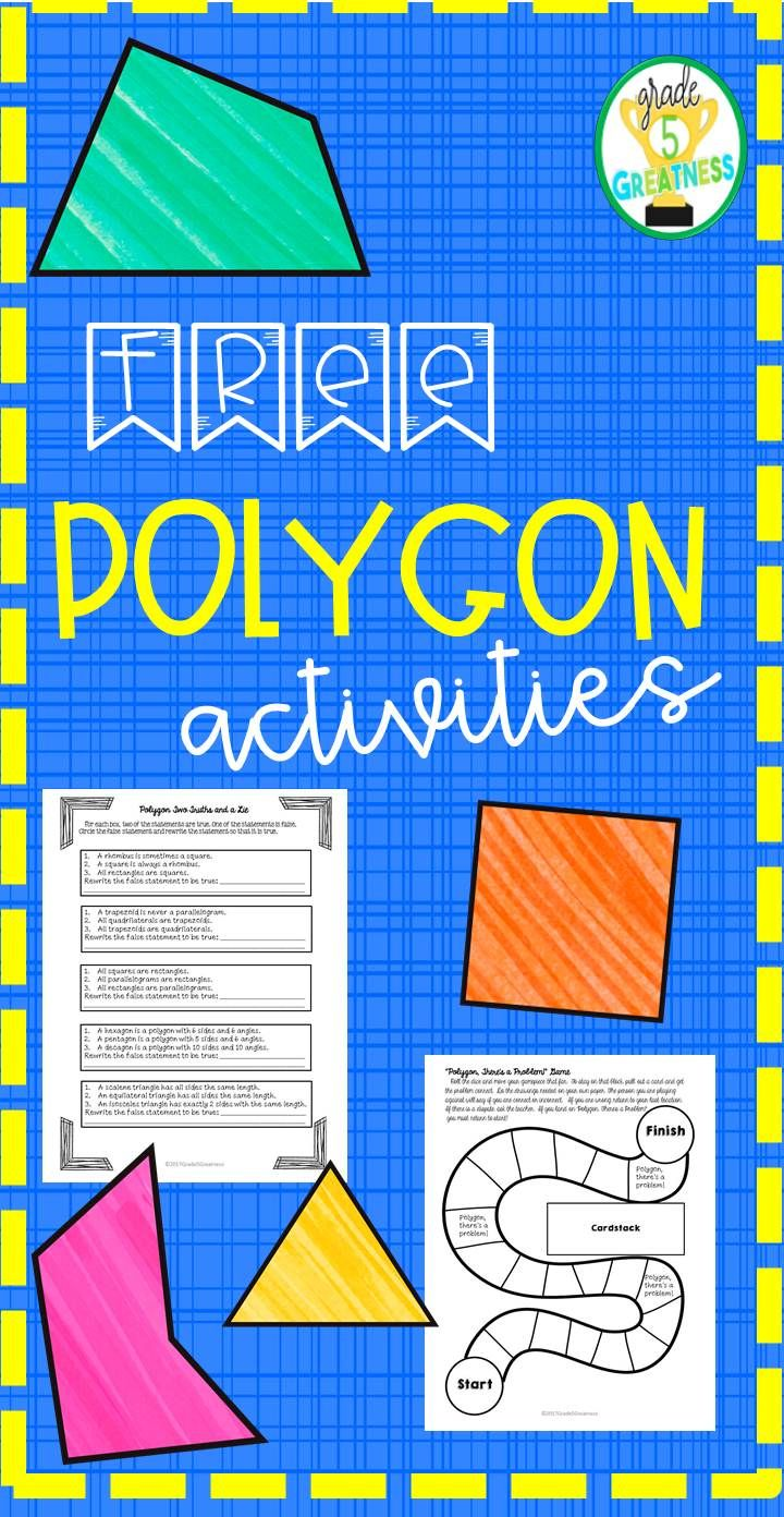 "FREE activities for polygons for grades 4-6!  Includes ""I Have, Who Has,"" 2 Truths and a Lie, and a Polygon Game!"