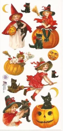 Halloween & Pompoenen poezieplaatjes Stickers P23