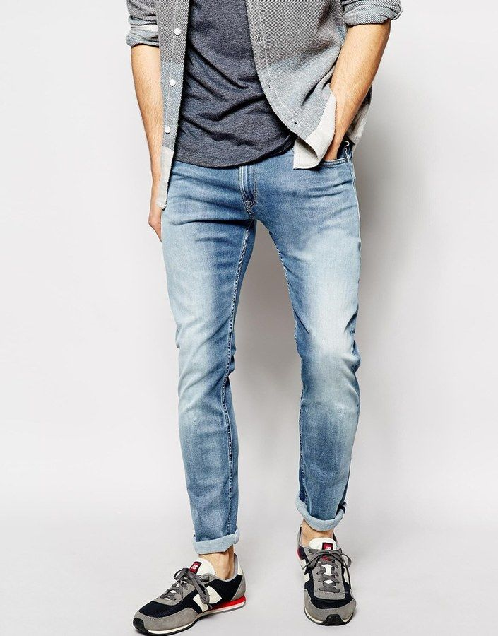$260, Replay Jeans Hyperflex Jondrill Skinny Comfort Ultra Stretch Light Wash. Sold by Asos. Click for more info: https://lookastic.com/men/shop_items/183606/redirect