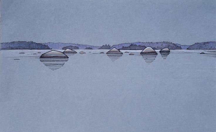 #Suomi #lake #stones #sketch