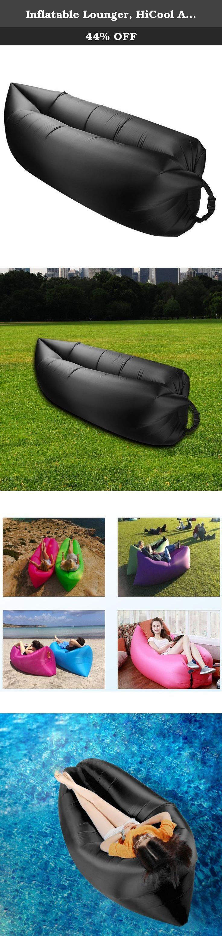 Inflatable Lounger, HiCool Air Lounger Air Bed Beach Sofa, 1 Air Port Easy To Be Filled and Sustainable Up To 12 Hours. A new sealing design , We know the lounger leak always because of sealing part, Compared with the old version, you could check the pictures(The old and new contrast figure) in the link, Our new inflatable lounger is designed for gas leakage and inflatable difficult, completely fully solved the two problems, Genuine materials and professional technology is withstand…