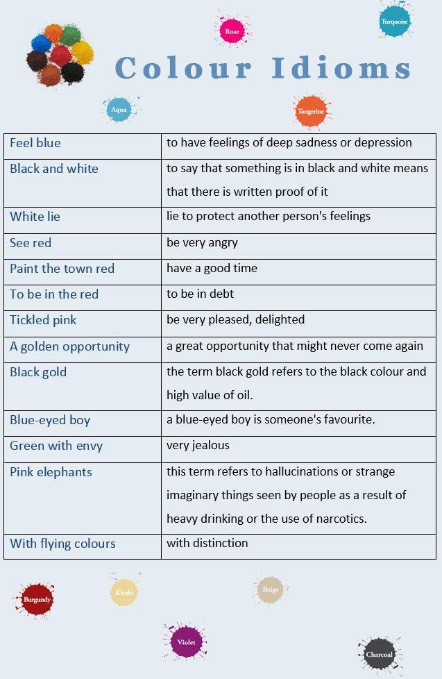Colour Idioms - learn English,idioms,english