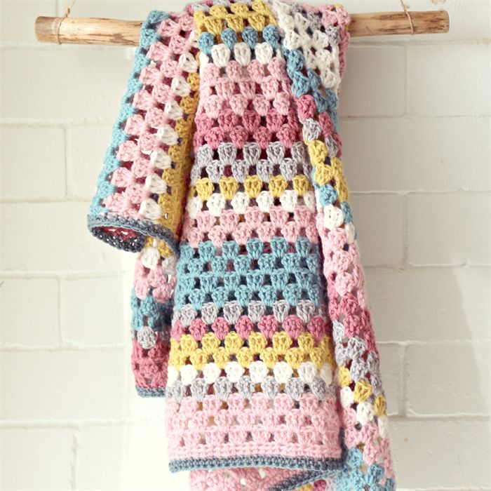 baby blanket | crochet granny stripes | newborn baby girls gift | wool