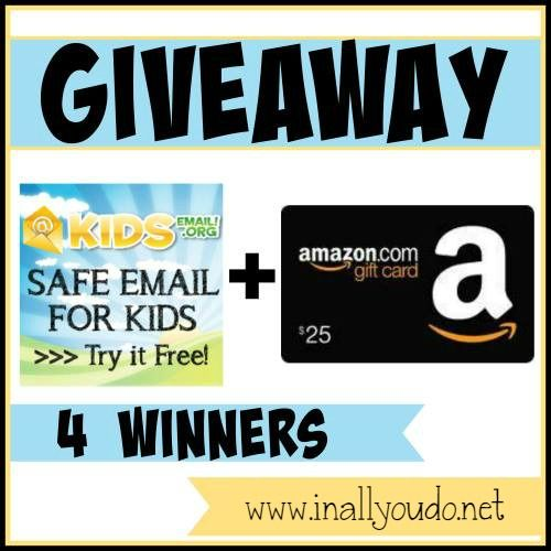 Looking for a safe alternative for your kids to have email? Do you like to shop at Amazon? Don't miss this AMAZING giveaway from Kids Email.org!!! 4 WINNERS!!! Ends 12/17/14 ~ In All You Do