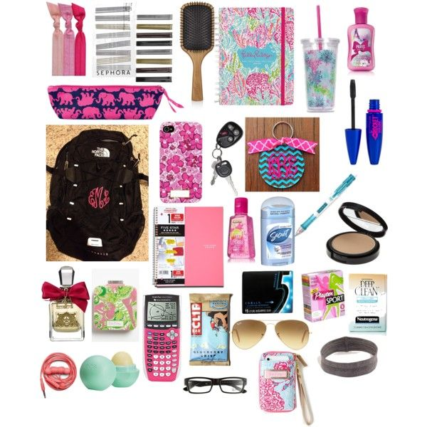 Back to school by delaney-lange on Polyvore featuring mode, Emi-Jay, Sephora Collection, Lilly Pulitzer, Ray-Ban, Revlon, Maybelline, Juicy Couture, Eos and Aveda