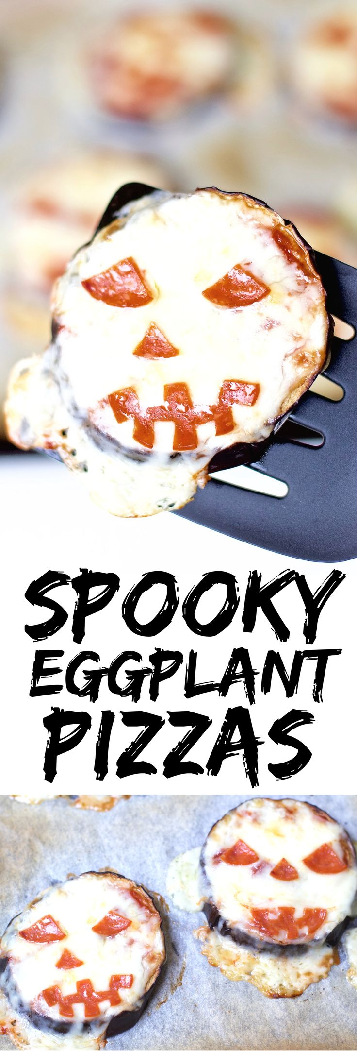 Satisfy all of the ghouls in your life this Halloween when you make these spooky Eggplant Jack-O-Lantern Mini Pizzas for your fright fest. Simple to assemble, and ready in less than 30 minutes, these are perfect for getting the little ones involved.