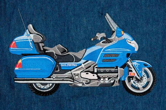 Goldwing motorbike large embroidery design. Created using an SWF singlehead embroidery machine and Isacord embroidery threads. #motorbike #embroidery #digitizing #hog