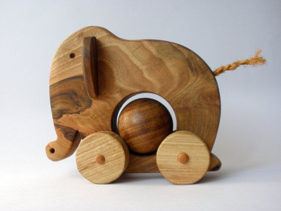 Wooden pull toy eco friendly  ELEPHANT ELLIE by toporko on Etsy