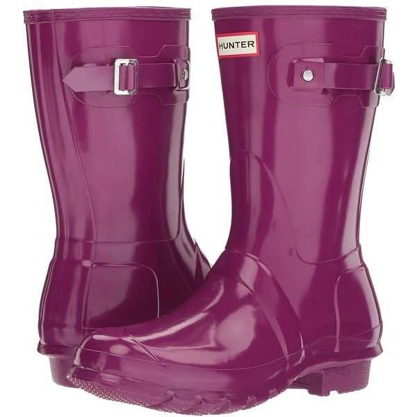 Hunter Original Short Gloss (Violet) Women's Rain Boots ($140) ❤ liked on Polyvore featuring shoes, boots, mid-calf boots, buckle boots, slip on boots, short rain boots, mid calf rain boots and wellies boots