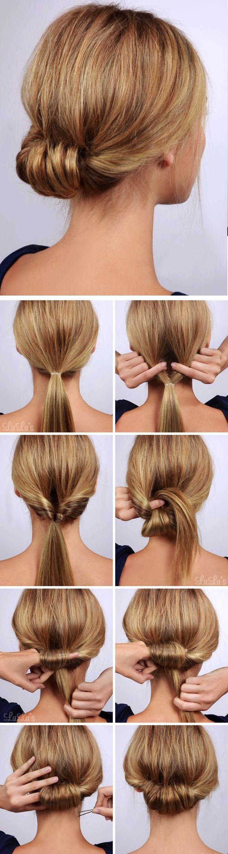 Este peinado es perfecto para un evento formal o para lucir increíble en un día especial. Lo único que debes hacer es una cola de caballo y pasar la parte restante por debajo de la liga. Pon tu dedo, repítelo hasta que termines en enrollar todo tu pelo y sujeta con un pasador.
