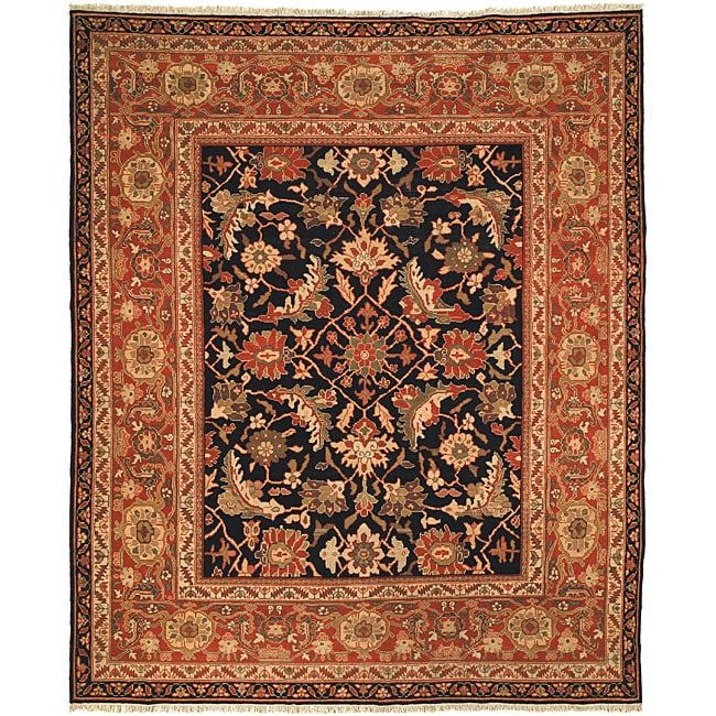 Safavieh Oushak Hand-knotted Oushak Black/ Rust Rug (10' x 14'), Green, Size 10' x 14' (Natural Fiber, Oriental)