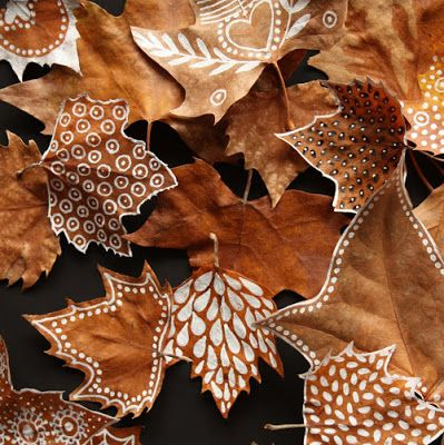 IDEA - Kids would love doing this.  If its not Autumn, maybe try summer leaves dried in airing cupboard, then paint with acrylics.