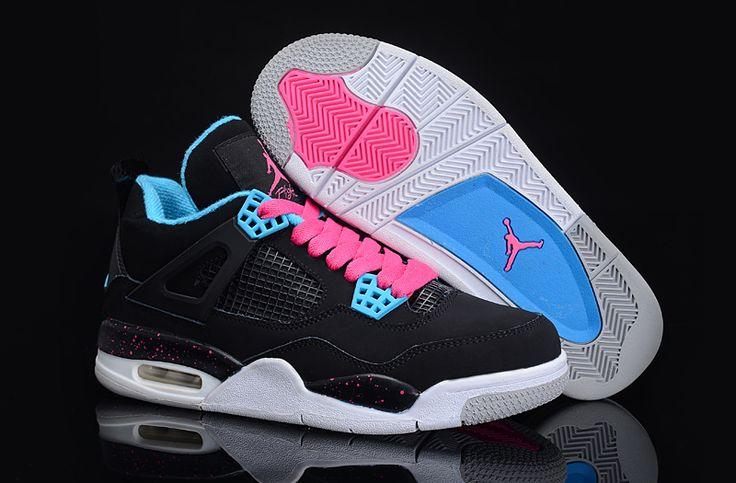 Latest Jordan Shoes | 2013 Women Air Jordan 4 Black White Azure Pink Shoes [AJ-1AJWN40007 ...