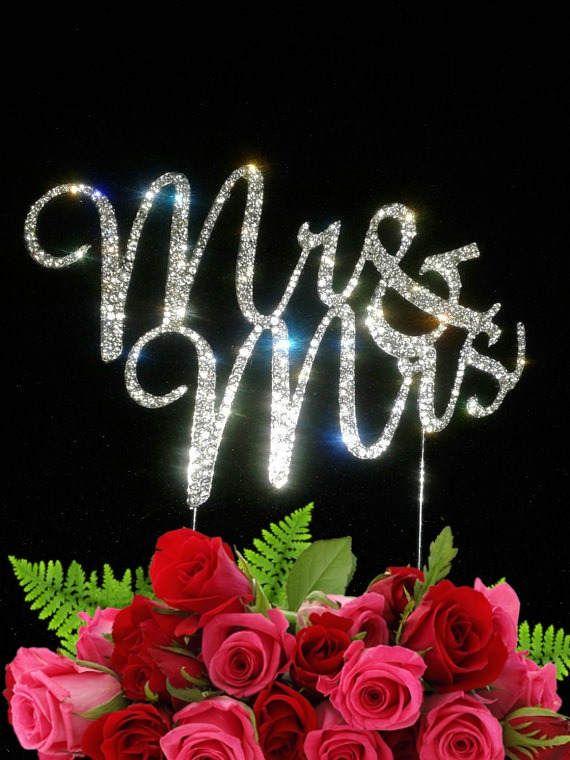 Large Mr & Mrs Bling Crystal Rhinestone wedding Cake Topper  Anniversary Wedding silver tone