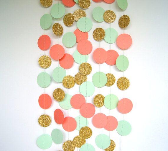 Guirnalda de papel en Coral menta y oro doble cara