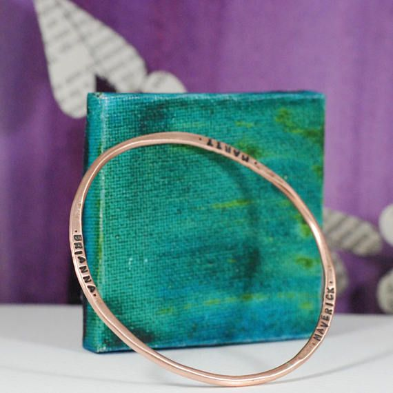 Oh my goodness, Im loving these bangle bracelets! You can choose whatever text youd like & Ill stamp it for you. You and your boyfriends names, your kids names, your last name and the year you were married, your grandkids names....there are so many possibilities with this one. I make