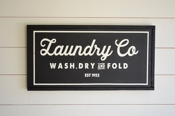 VINTAGE LAUNDRY CO, Painted wood sign - S,M,L Sizes available  | Wall decor (Rustic Chic, Modern Farmhouse, Fixer Upper) Free Shipping