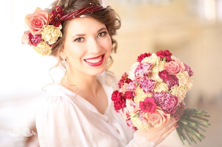 Букет невесты в винном цвете