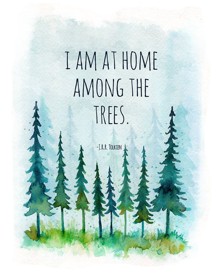 I am at home among the trees, jrr tolkien, jrr tolkien quote, lotr quote, forest watercolor art, woodland wall art, nursery woodland, art