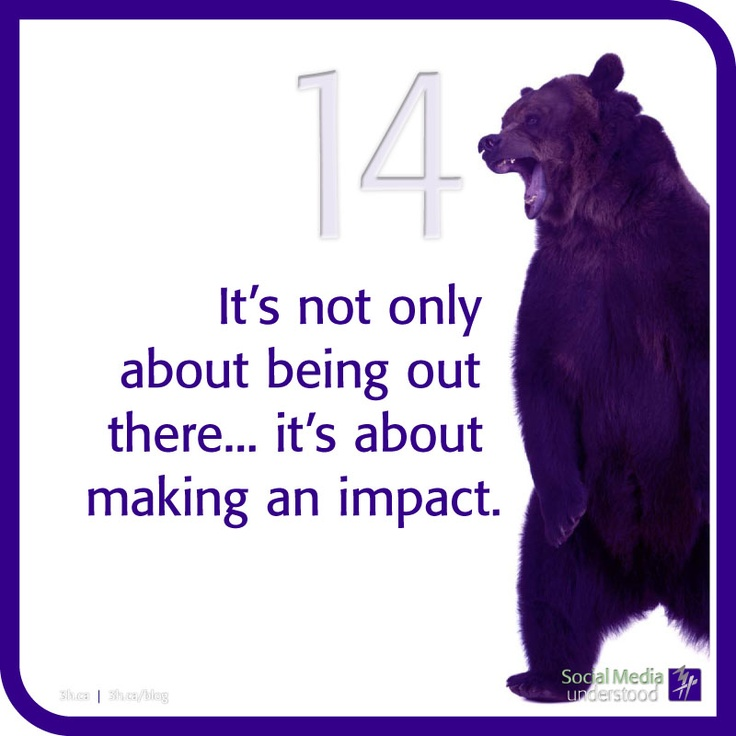 It's not only about being out there...it's about making an impact. Download the 3H eBook Social Media Understood: http://3h.ca/ebook_social_media.php