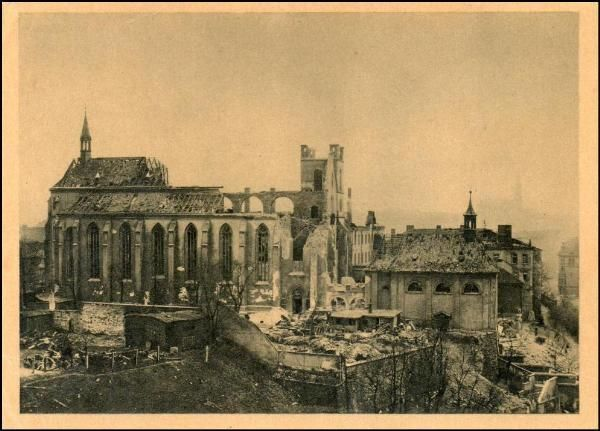 EMAUZY monastery in Prague after bombing in 1945