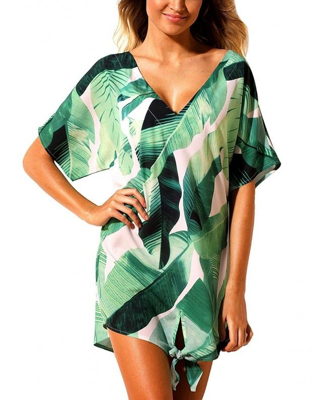 Women Printed V Neck Knot Beachwear Loose Short Dress Cover Up – Green – C1180HY82OL