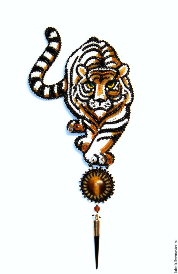 Купить или заказать Брошь 'Амур' в интернет-магазине на Ярмарке Мастеров. Оригинальная крупная брошь: грациозный тигр и подвеска с кабошоном тигрового глаза. Брошь вышита мелким японским бисером, чешскими гранёными бусинами-ронделями и пришивными стразами. Для надёжности крепления к броши пришиты две булавочки. Это оригинальное украшение обязательно привлечёт внимание окружающих или станет чудесным подарком.