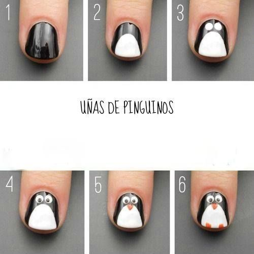 Uñas decoradas Pinguinos