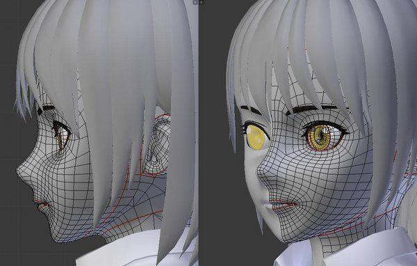 3d anime face poly topology